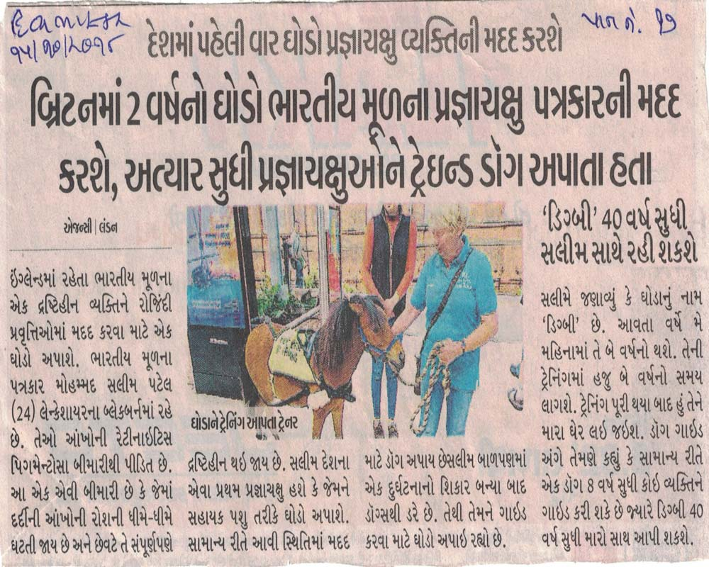 blind man to get guide horse in UK